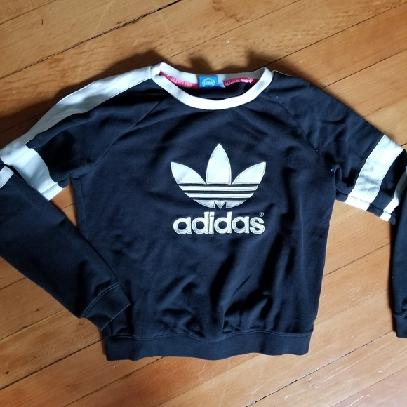 adidas Tops - Adidas faux leather sweatshirt